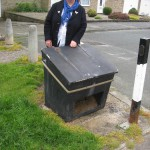 Ann Reid with local salt bin