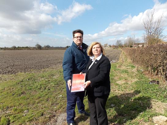Nick Emmerson and Cllr Ann Reid at the Moor Lane site which is threatened with development