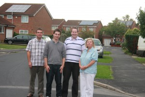 Liberal Democrat Councillors and Campaigners highlighting solar panel development in Dringhouses & Woodthorpe (from left to right: James Walker, Chris Twells, Cllr Keith Aspden and Cllr Ann Reid)