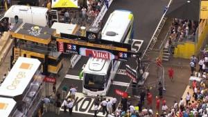 Bus stuck during previous TdF race