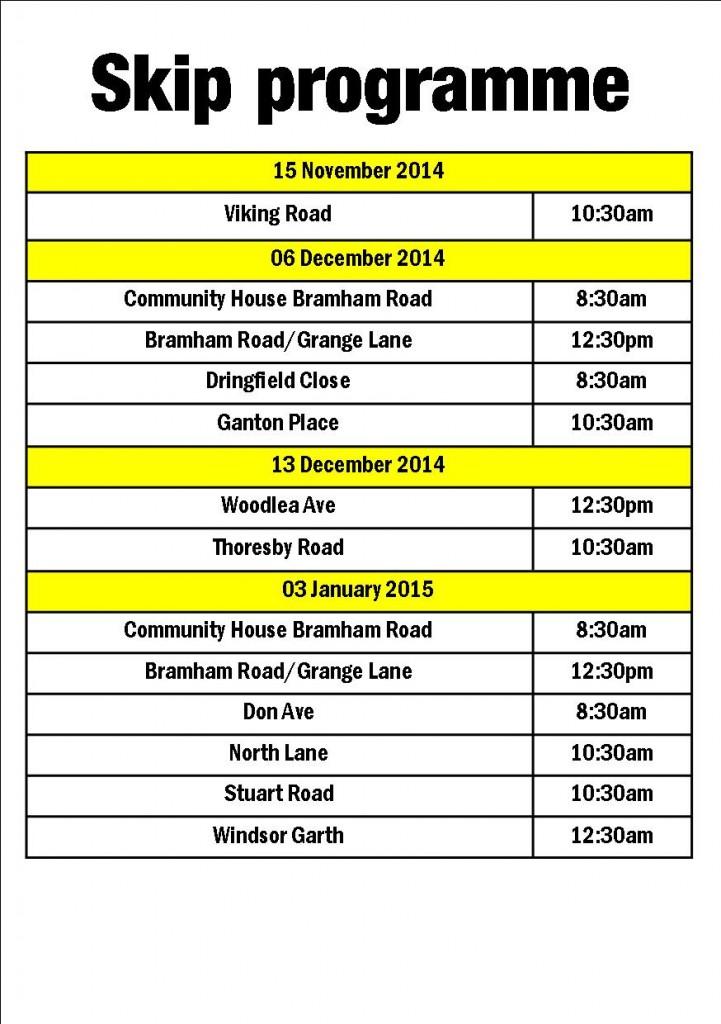 Skip programme Nov 2014