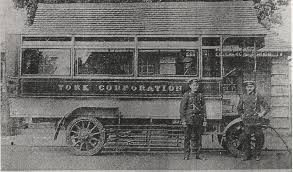 In March 1915 York Corporation Tramways Department was one of the very first operators in the country to use electric buses and to this day, there are still two relics of this pioneering form of transport in the City – the shelters at Clifton Green and Malton Road Corner, which were built as charging points for the buses