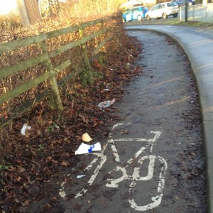 Leaves and detritus pose hazard for cyclists near Tesco