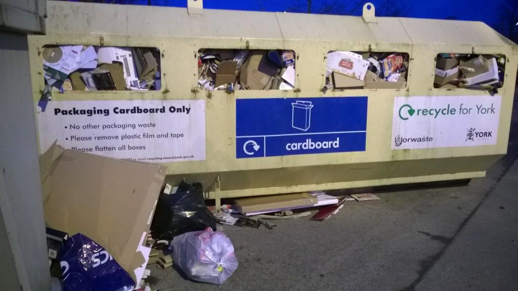 Recycling bin at Tesco full on Sunday