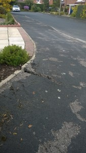 An area of pavement on Annan Close is badly cracked and uneven