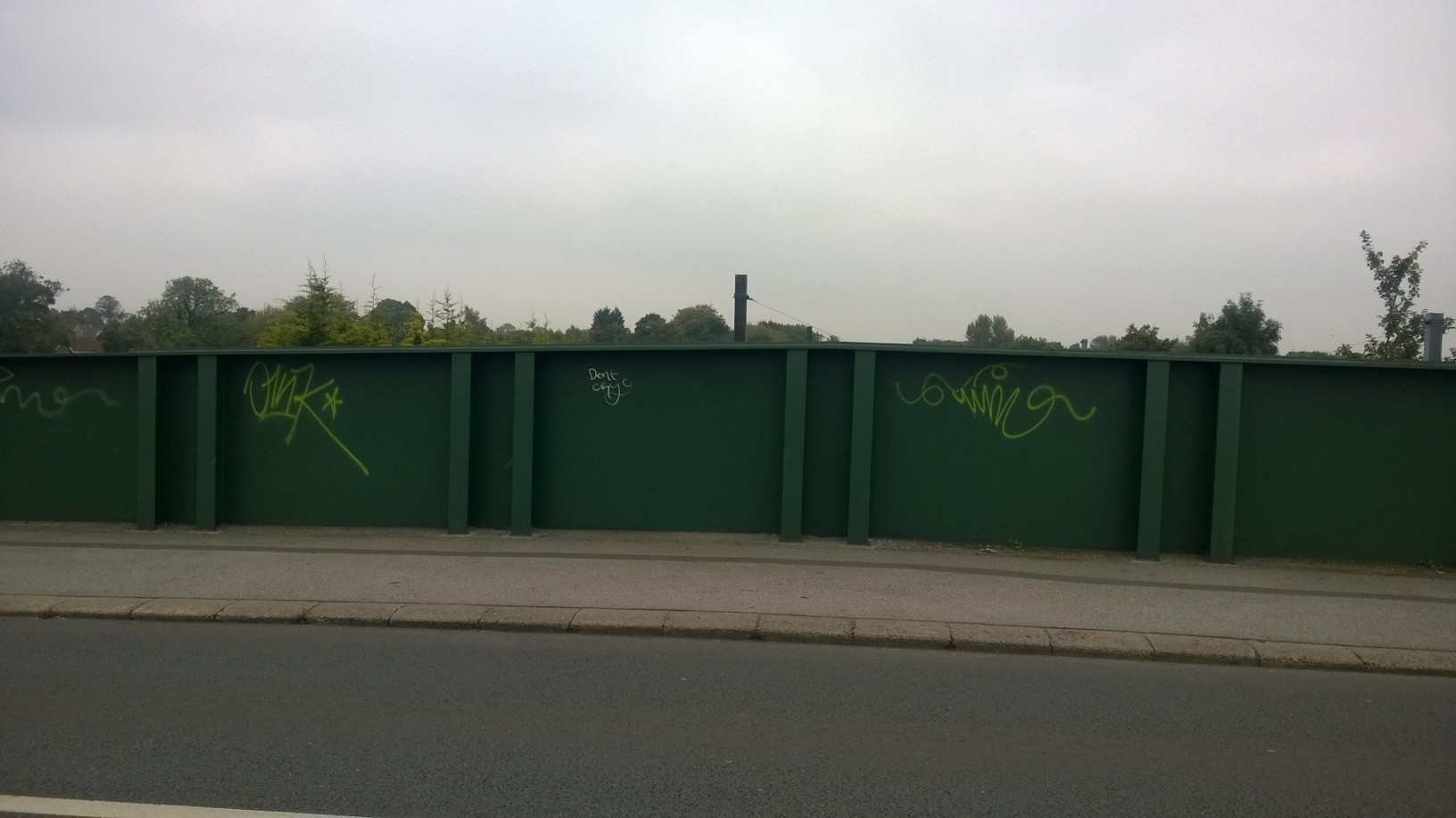 Graffiti has been daubed on both sides of the road