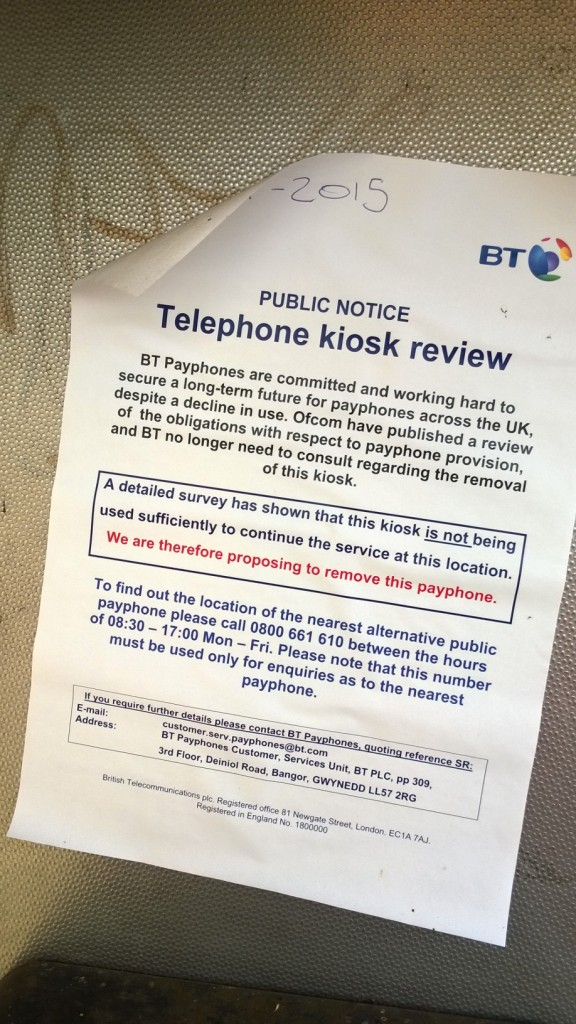 No consultation planned by BT on phone box removal