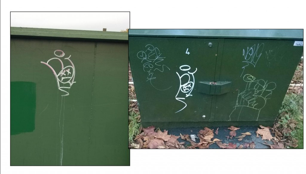 A new graffiti tag has been spotted on St Helens Road railway bridge and a cable box on Tadcaster Road opposite Nelsons Lane