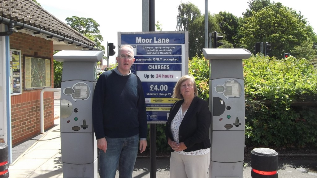 Cllr Stephen Fenton and Cllr An Reid at what is now the 'Moor Lane pay & display car park'