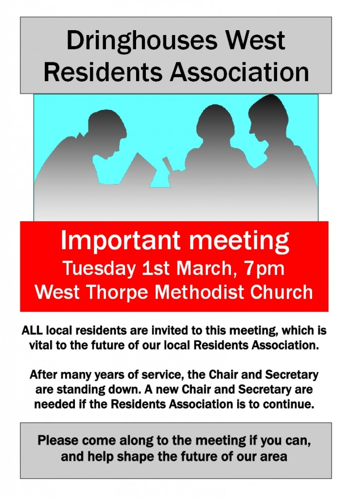 Dringhouses West RA poster