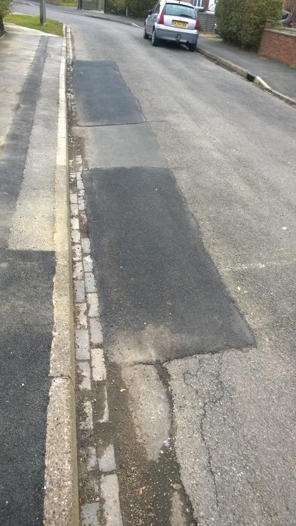 Kerbside road repairs on Leeside