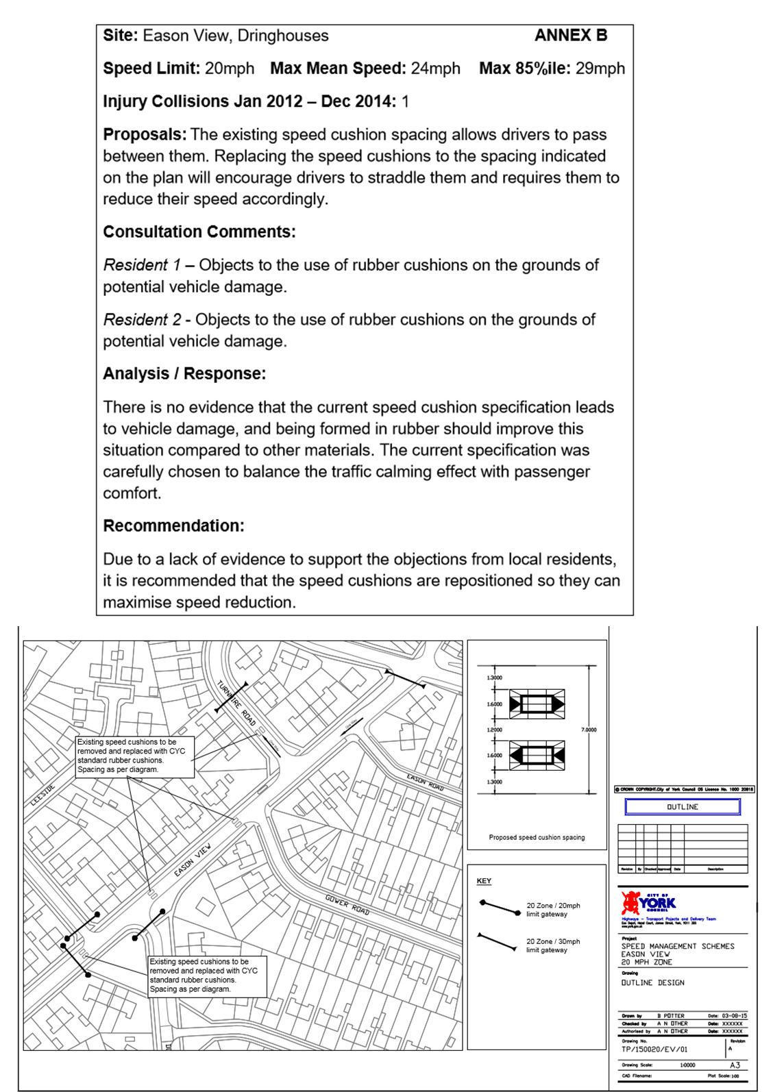 Eason View speed hump plans