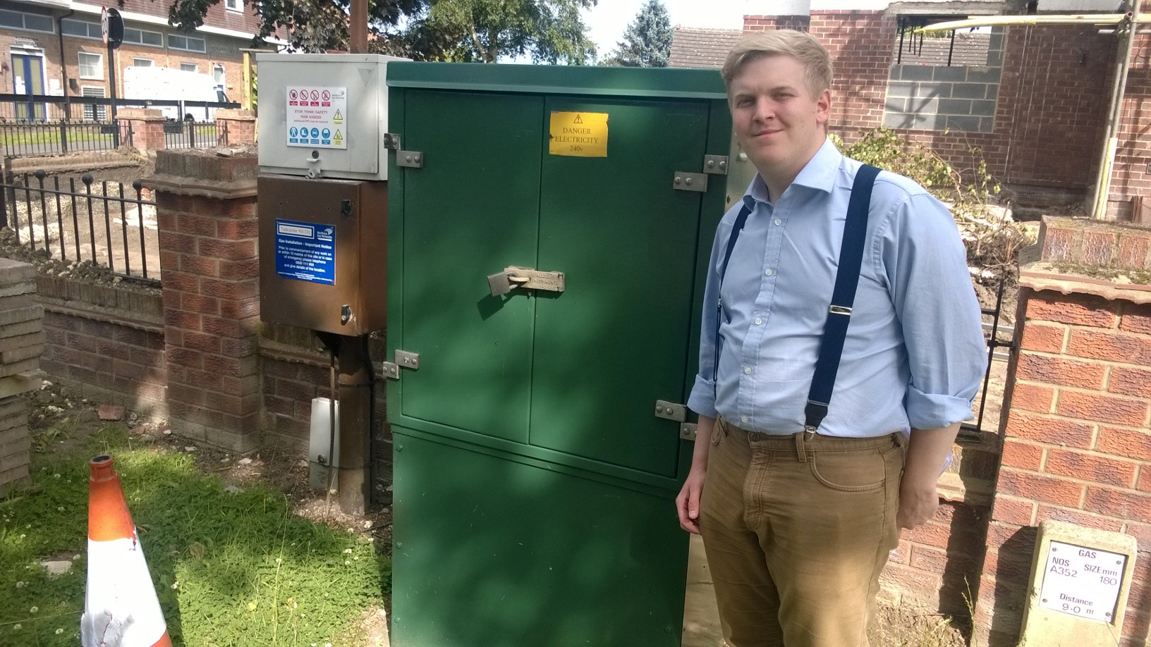 Ashley Mason with the newly repainted Nothern Power Networks cabinet