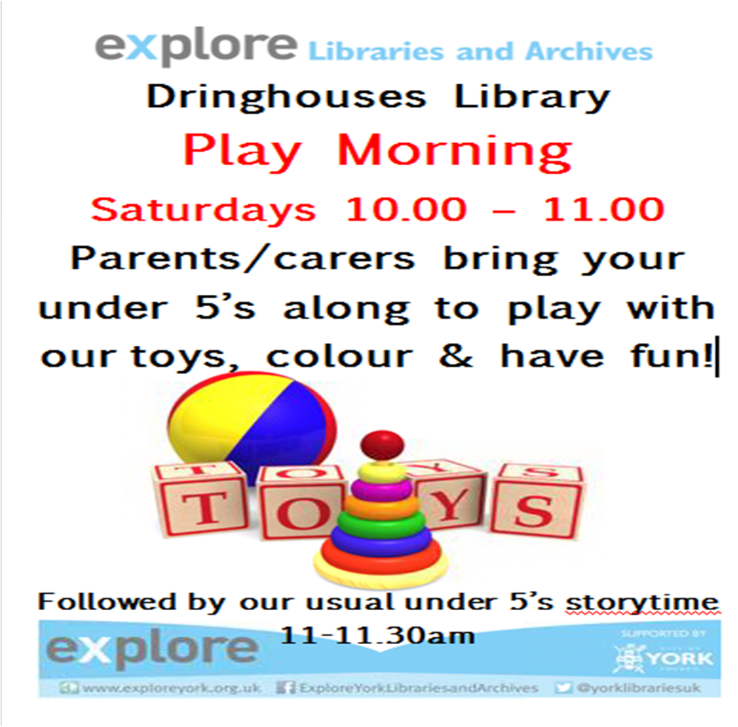 Play morning Dringhouses library Saturdays